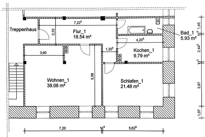 Historische Wohnung (Bauplan)